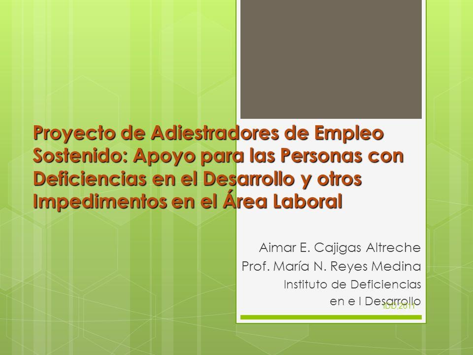 Proyecto de Adiestradores de Empleo Sostenido: Apoyo para las Personas con Deficiencias en el Desarrollo y otros Impedimentos en el Área Laboral Aimar
