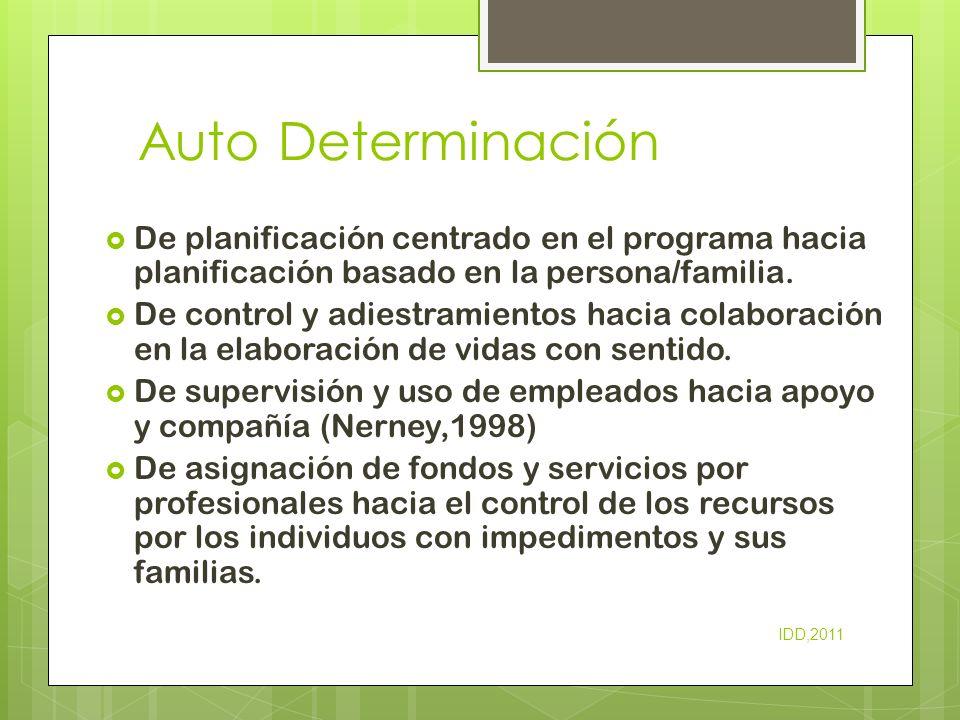 Auto Determinación De planificación centrado en el programa hacia planificación basado en la persona/familia. De control y adiestramientos hacia colab