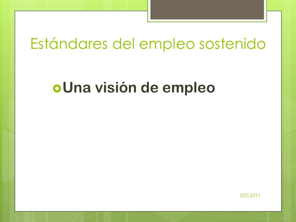 Estándares del empleo sostenido Una visión de empleo IDD,2011