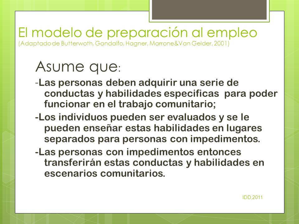 El modelo de preparación al empleo (Adaptado de Butterwoth, Gandalfo, Hagner, Marrone&Van Gelder, 2001) Asume que : - Las personas deben adquirir una