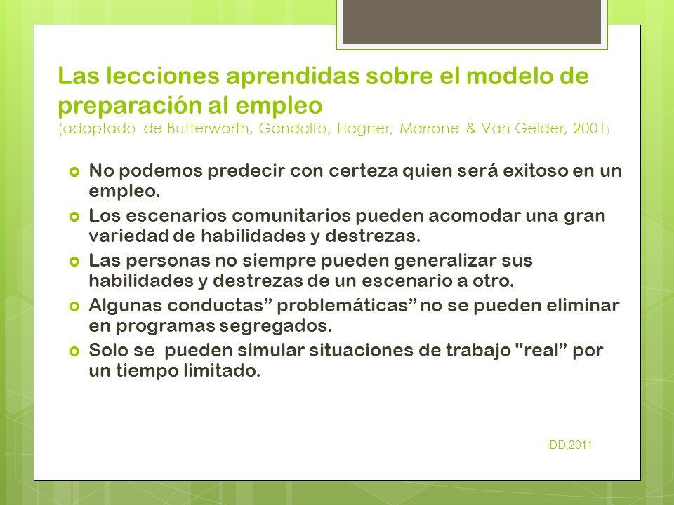 Las lecciones aprendidas sobre el modelo de preparación al empleo (adaptado de Butterworth, Gandalfo, Hagner, Marrone & Van Gelder, 2001 ) No podemos