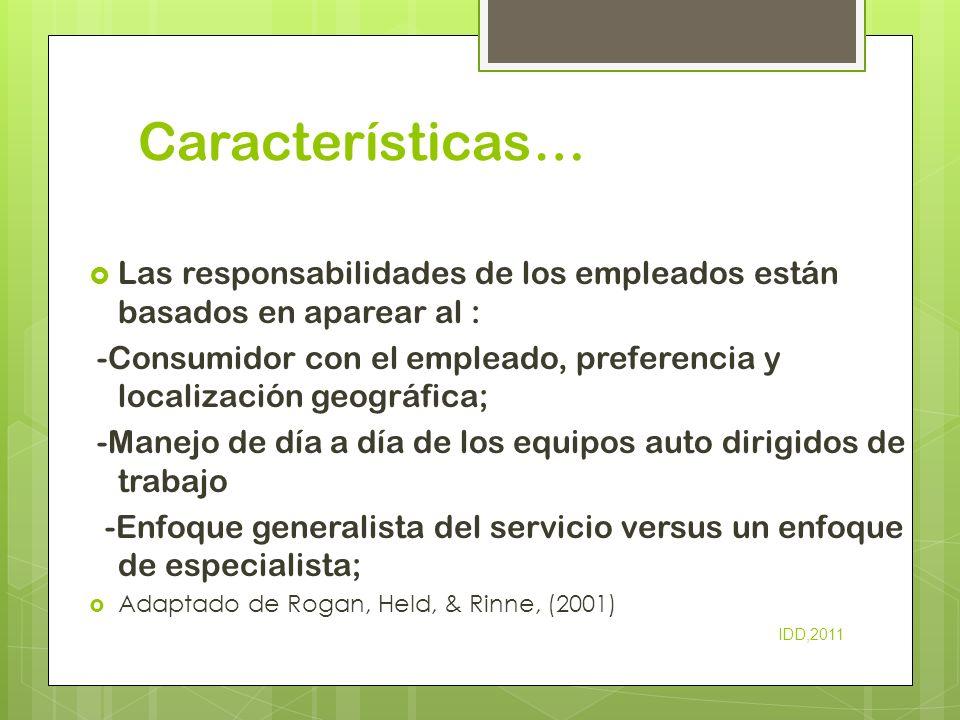 Características… Las responsabilidades de los empleados están basados en aparear al : -Consumidor con el empleado, preferencia y localización geográfi