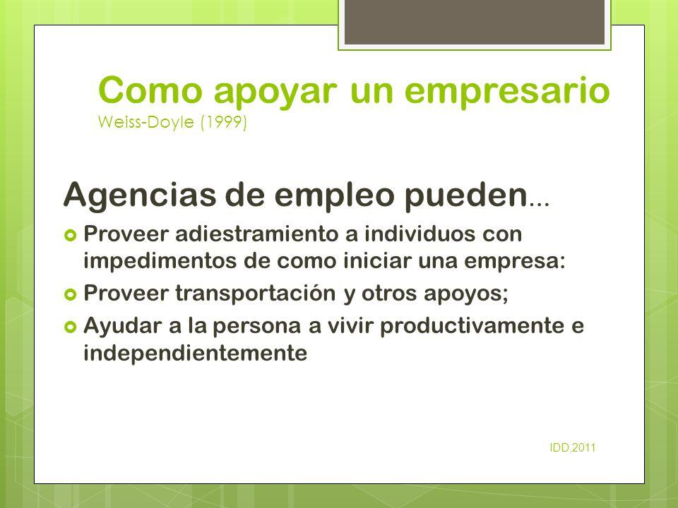 Como apoyar un empresario Weiss-Doyle (1999) Agencias de empleo pueden … Proveer adiestramiento a individuos con impedimentos de como iniciar una empr
