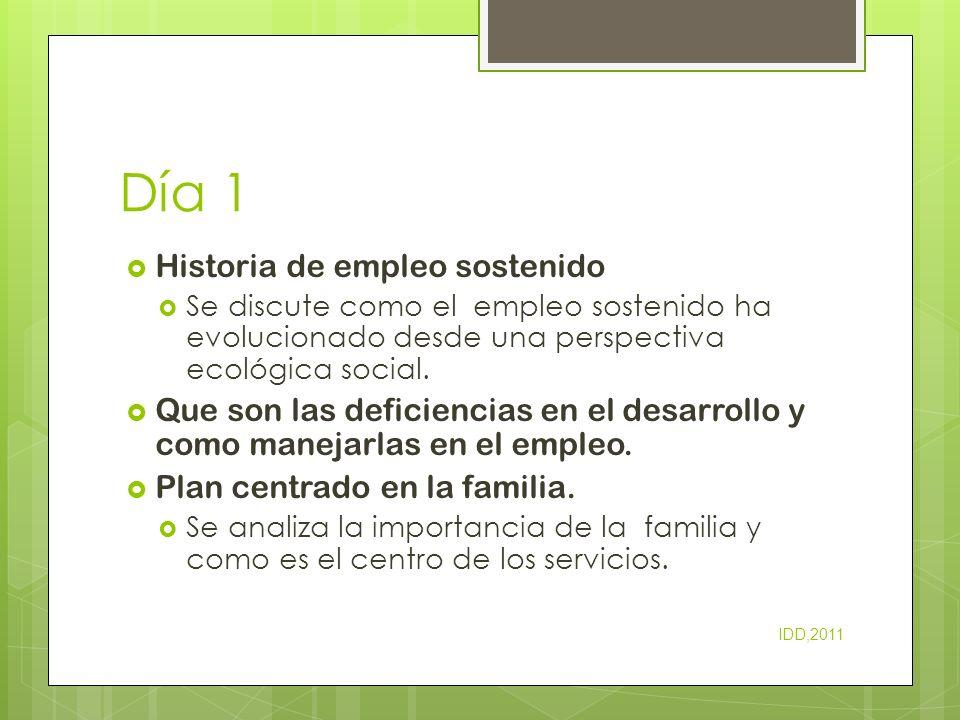 Día 1 Historia de empleo sostenido Se discute como el empleo sostenido ha evolucionado desde una perspectiva ecológica social. Que son las deficiencia