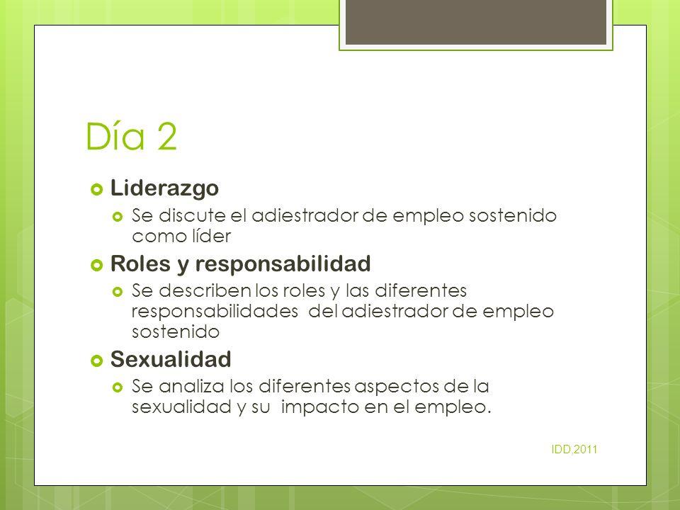 Día 2 Liderazgo Se discute el adiestrador de empleo sostenido como líder Roles y responsabilidad Se describen los roles y las diferentes responsabilid