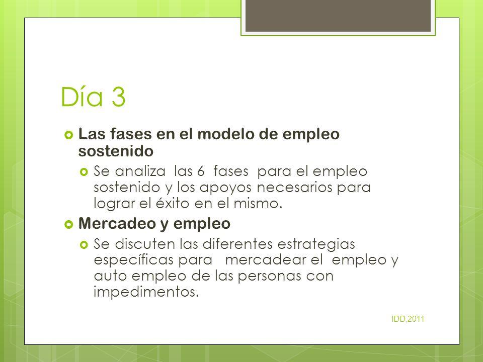 Día 3 Las fases en el modelo de empleo sostenido Se analiza las 6 fases para el empleo sostenido y los apoyos necesarios para lograr el éxito en el mi