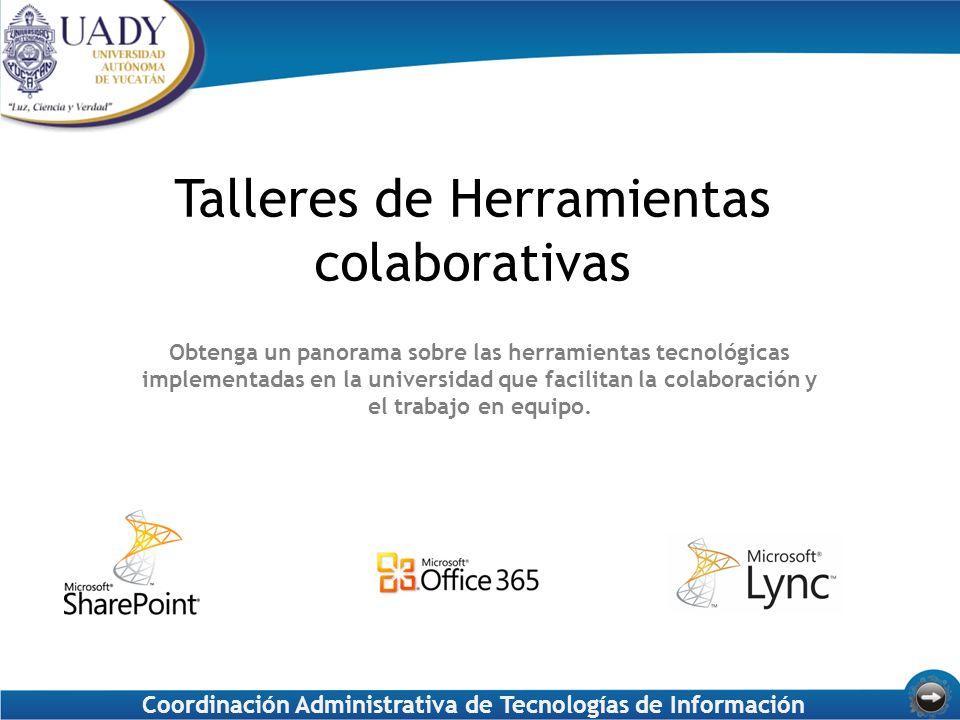 Talleres de Herramientas colaborativas Obtenga un panorama sobre las herramientas tecnológicas implementadas en la universidad que facilitan la colaboración y el trabajo en equipo.