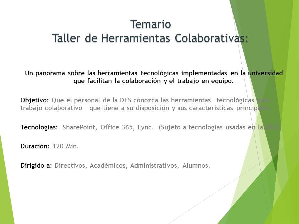 Temario Taller de Herramientas Colaborativas: Un panorama sobre las herramientas tecnológicas implementadas en la universidad que facilitan la colabor
