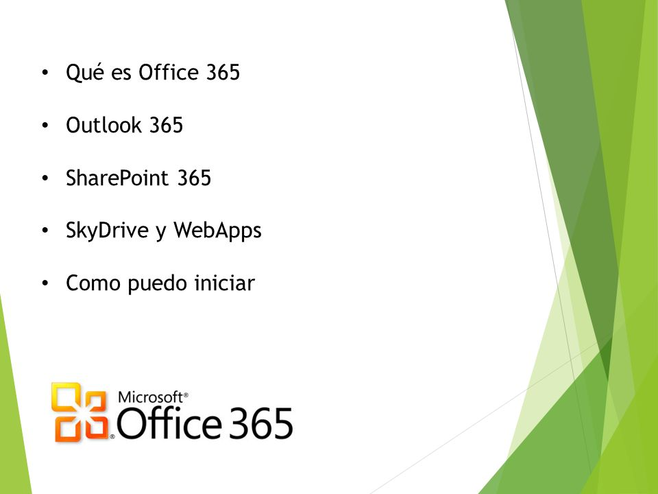 Qué es Office 365 Outlook 365 SharePoint 365 SkyDrive y WebApps Como puedo iniciar