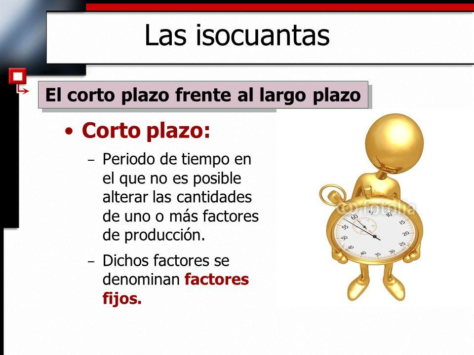 Corto plazo: – Periodo de tiempo en el que no es posible alterar las cantidades de uno o más factores de producción.