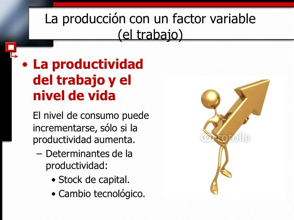 La productividad del trabajo y el nivel de vida El nivel de consumo puede incrementarse, sólo si la productividad aumenta.