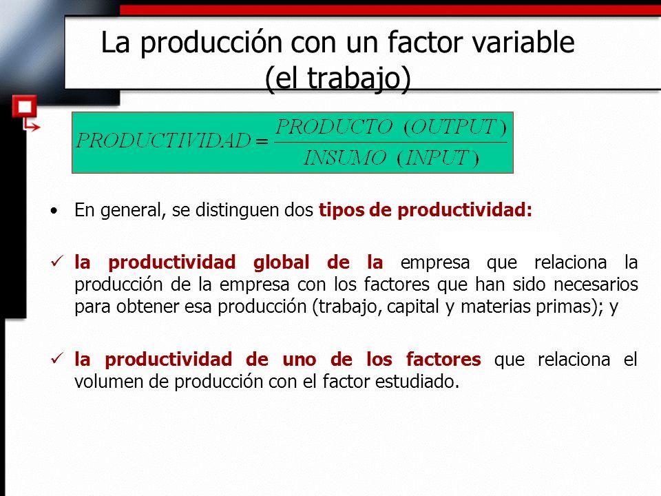 En general, se distinguen dos tipos de productividad: la productividad global de la empresa que relaciona la producción de la empresa con los factores que han sido necesarios para obtener esa producción (trabajo, capital y materias primas); y la productividad de uno de los factores que relaciona el volumen de producción con el factor estudiado.