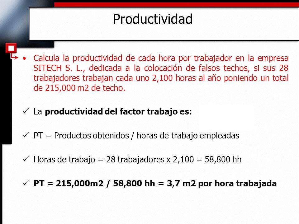 Calcula la productividad de cada hora por trabajador en la empresa SITECH S.
