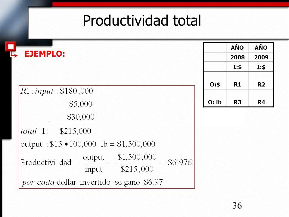 36 Productividad total EJEMPLO: AÑO 20082009 I:$ O:$R1R2 O: lbR3R4