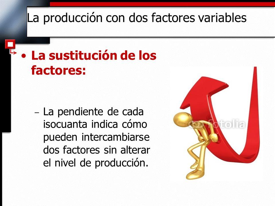 La sustitución de los factores: – La relación marginal de sustitución técnica es: Variación de la cantidad de capital - RMST RMST L K La producción con dos factores variables Variación de la cantidad de trabajo (manteniendo fijo el nivel de Q)