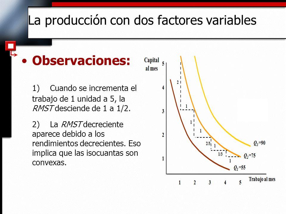 Observaciones: 3)La RMST relación marginal de sustitución técnica y la productividad marginal: La variación de la producción a causa de una variación del trabajo es: (PM L ) ( L) La producción con dos factores variables