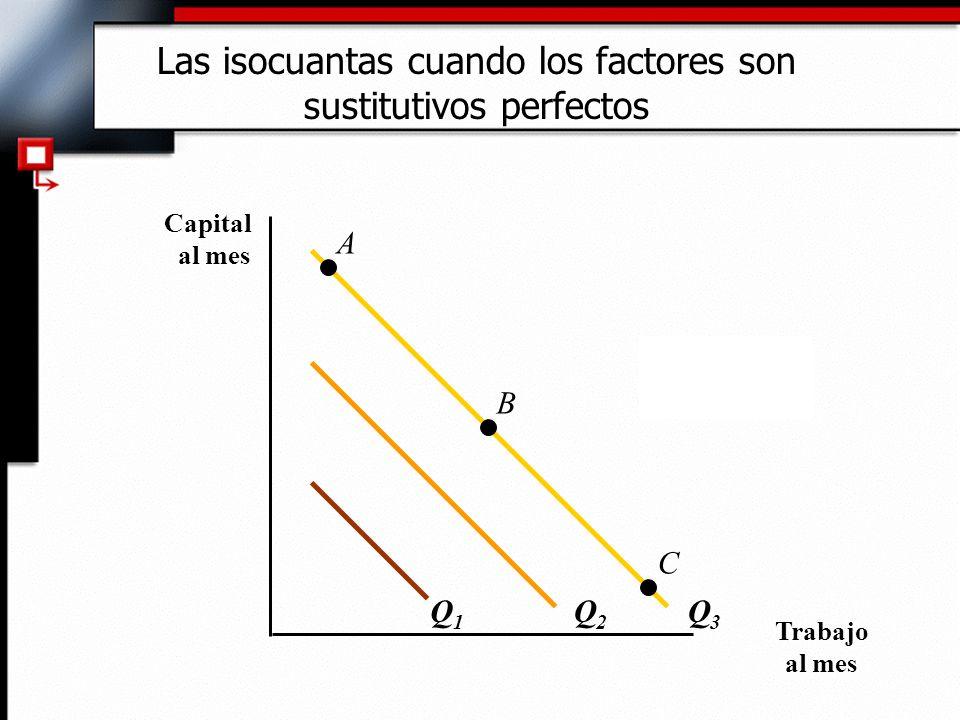 Cuando los factores son perfectamente sustituibles: 1)La RMST es constante en todos los puntos de una isocuanta.