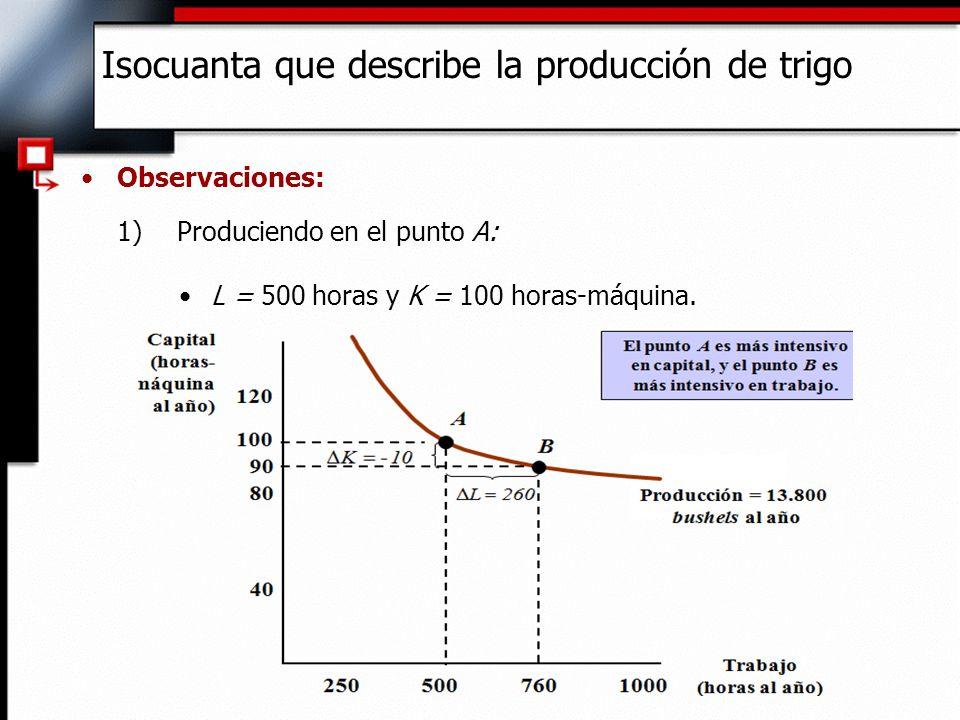 Observaciones: 2)Produciendo en el punto B: Cuando L aumenta a 760 y K desciende a 90, la RMST < 1:./ 0,04 (-10/260) L K - RMST Isocuanta que describe la producción de trigo