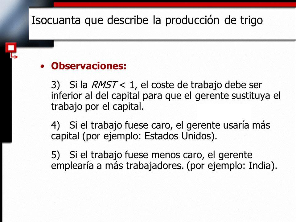 Observaciones: 3)Si la RMST < 1, el coste de trabajo debe ser inferior al del capital para que el gerente sustituya el trabajo por el capital.