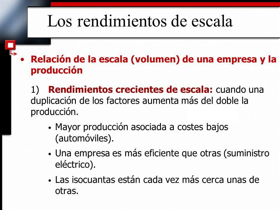 Los rendimientos de escala Relación de la escala (volumen) de una empresa y la producción 1)Rendimientos crecientes de escala: cuando una duplicación de los factores aumenta más del doble la producción.