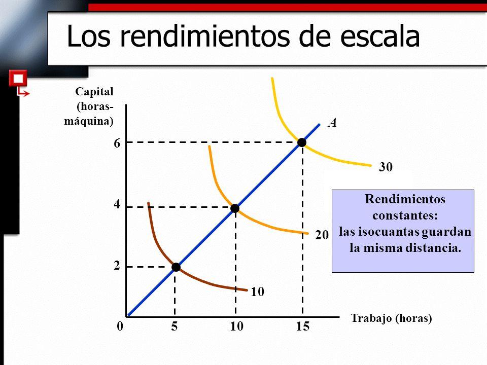 Relación de la escala (volumen) de una empresa y la producción 3)Rendimientos decrecientes de escala: cuando una duplicación de los factores provoca un aumento de la producción tal que ésta no llega a duplicarse.
