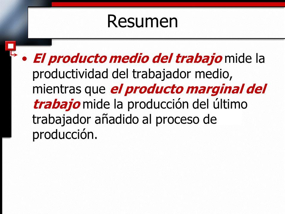 El producto medio del trabajo mide la productividad del trabajador medio, mientras que el producto marginal del trabajo mide la producción del último trabajador añadido al proceso de producción.