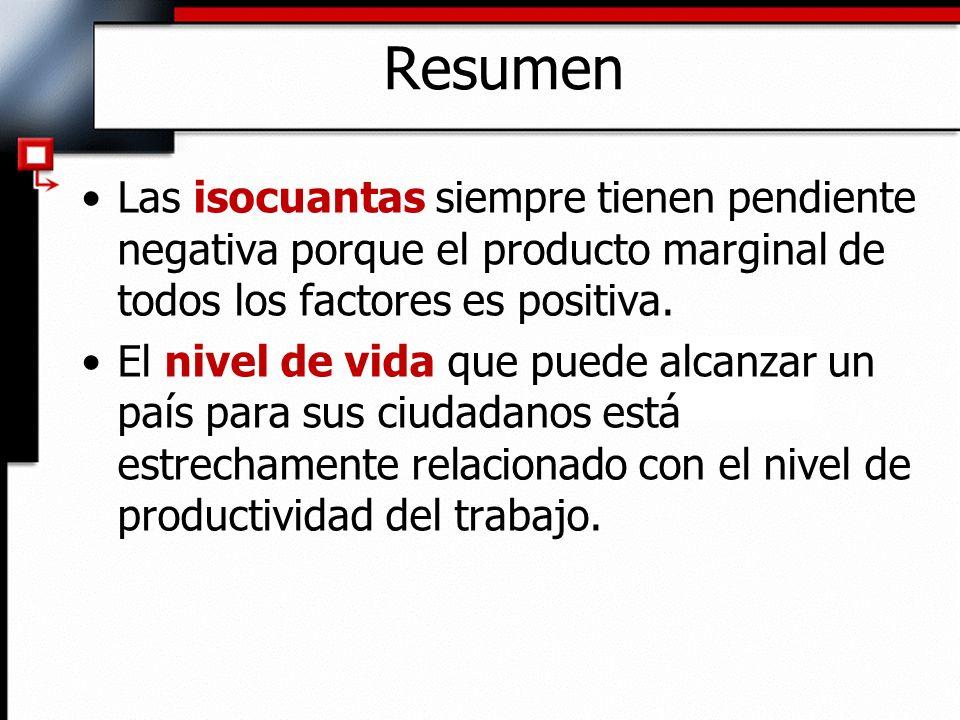 Las isocuantas siempre tienen pendiente negativa porque el producto marginal de todos los factores es positiva.