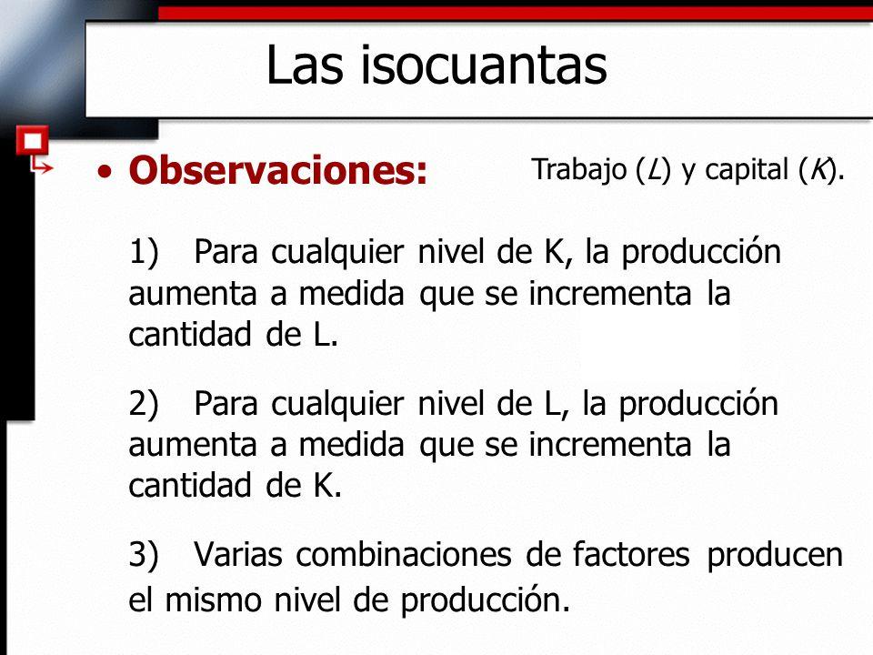 Isocuantas: –Curva que muestra todas las combinaciones posibles de factores que generan el mismo nivel de producción.