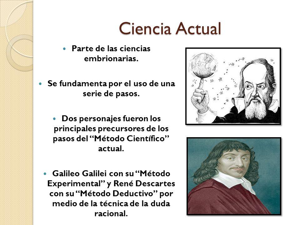 Ciencia Actual Parte de las ciencias embrionarias. Se fundamenta por el uso de una serie de pasos. Dos personajes fueron los principales precursores d