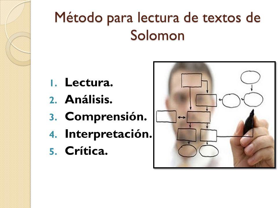 Método para lectura de textos de Solomon 1. Lectura. 2. Análisis. 3. Comprensión. 4. Interpretación. 5. Crítica.