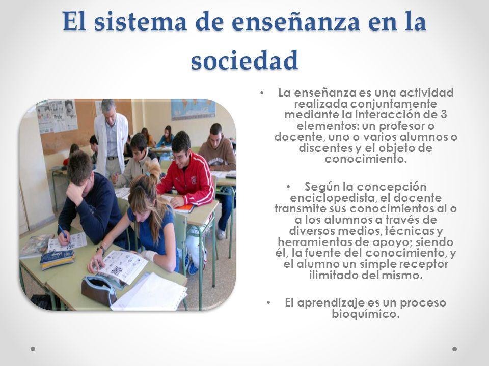 El sistema de enseñanza en la sociedad La enseñanza es una actividad realizada conjuntamente mediante la interacción de 3 elementos: un profesor o doc