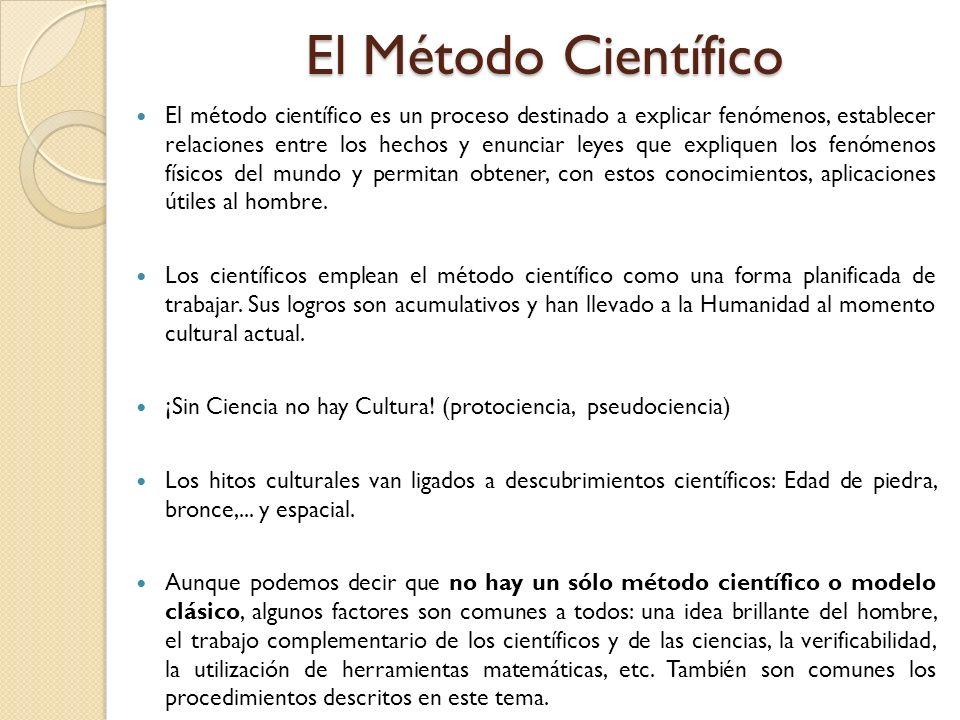 El Método Científico El método científico es un proceso destinado a explicar fenómenos, establecer relaciones entre los hechos y enunciar leyes que ex