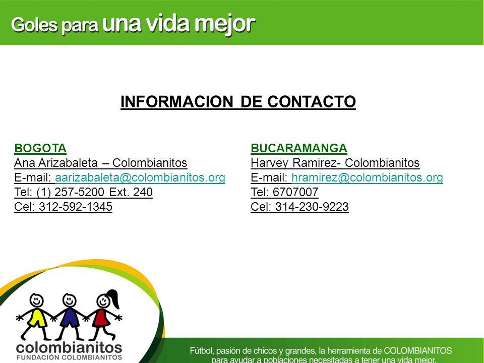 INFORMACION DE CONTACTO BOGOTA Ana Arizabaleta – Colombianitos E-mail: aarizabaleta@colombianitos.orgaarizabaleta@colombianitos.org Tel: (1) 257-5200