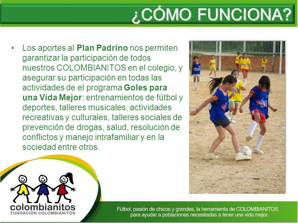 Los aportes al Plan Padrino nos permiten garantizar la participación de todos nuestros COLOMBIANITOS en el colegio, y asegurar su participación en tod
