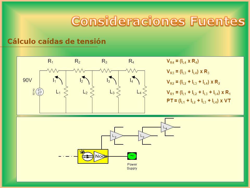Cálculo caídas de tensión V R4 = (I L4 x R 4 ) V R3 = (I L3 + I L4 ) x R 3 V R2 = (I L2 + I L3 + I L4 ) x R 2 V R1 = (I L1 + I L2 + I L3 + I L4 ) x R