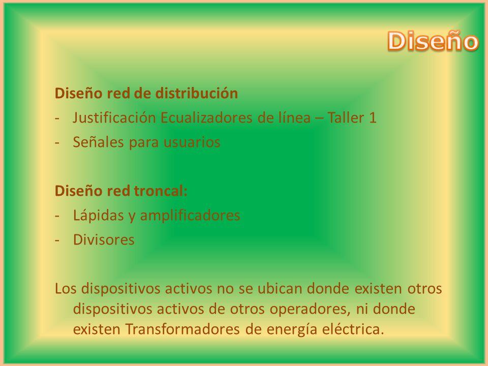 Diseño red de distribución -Justificación Ecualizadores de línea – Taller 1 -Señales para usuarios Diseño red troncal: -Lápidas y amplificadores -Divi