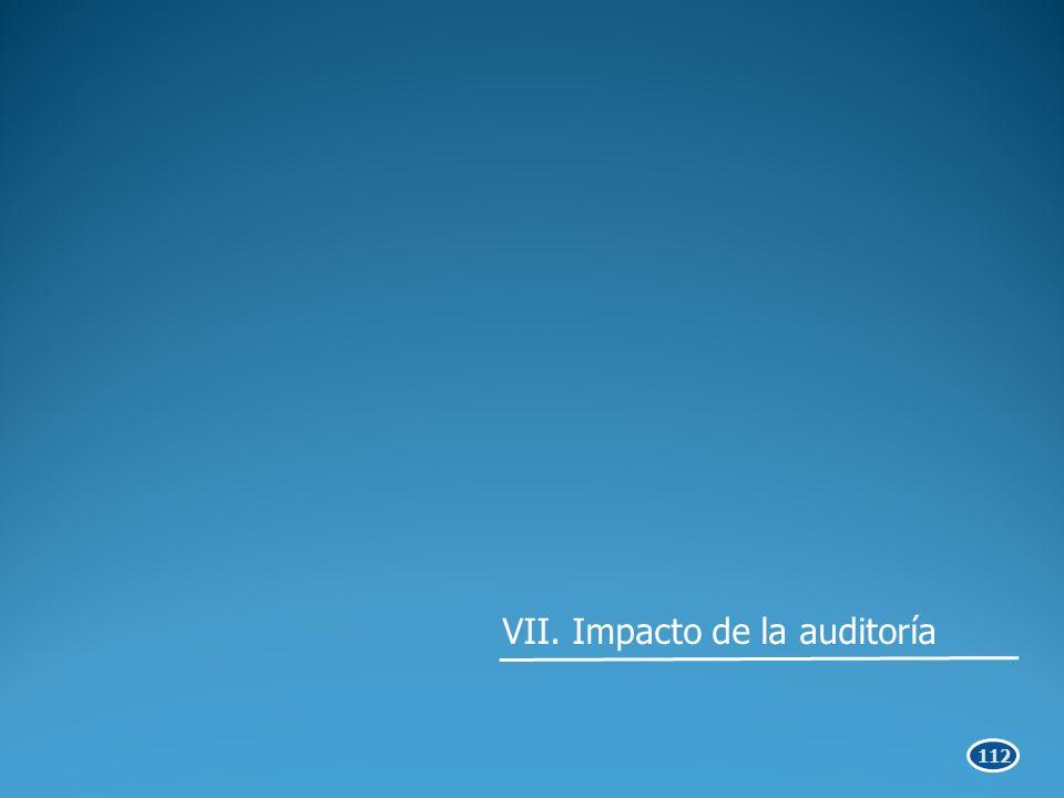 112 VII. Impacto de la auditoría