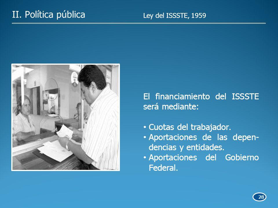 28 El financiamiento del ISSSTE será mediante: Cuotas del trabajador.