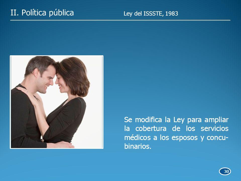 30 Se modifica la Ley para ampliar la cobertura de los servicios médicos a los esposos y concu- binarios.