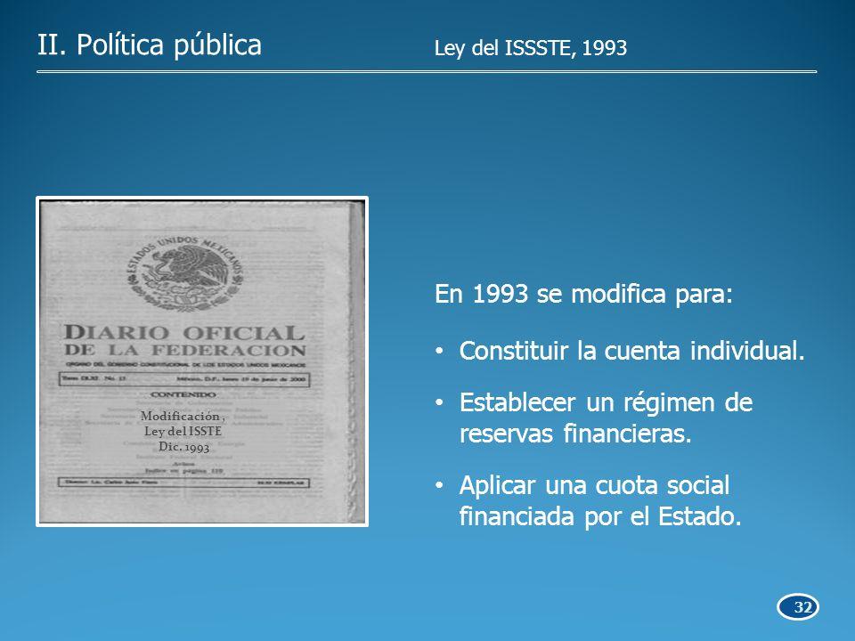 32 En 1993 se modifica para: Constituir la cuenta individual.