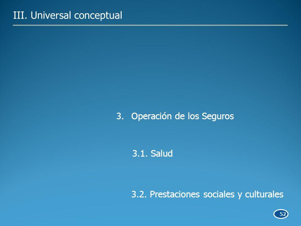 52 3.Operación de los Seguros 3.1. Salud 3.2. Prestaciones sociales y culturales III.