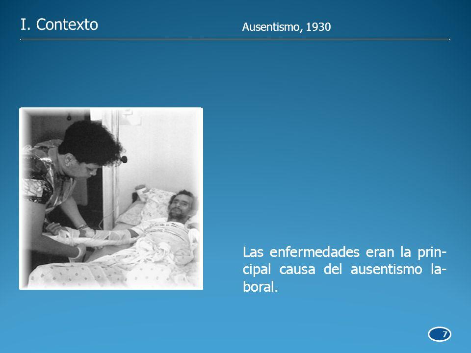 7 Las enfermedades eran la prin- cipal causa del ausentismo la- boral. I. Contexto Ausentismo, 1930