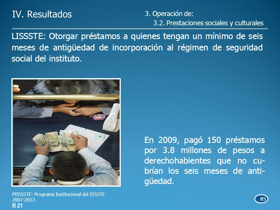85 En 2009, pagó 150 préstamos por 3.8 millones de pesos a derechohabientes que no cu- brían los seis meses de anti- güedad.