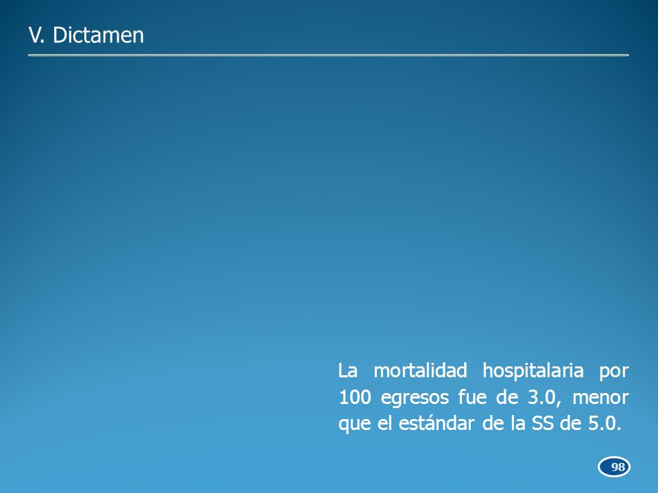 98 La mortalidad hospitalaria por 100 egresos fue de 3.0, menor que el estándar de la SS de 5.0.