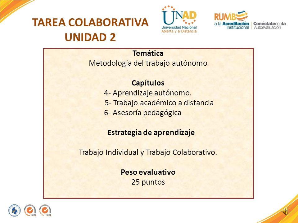TAREA COLABORATIVA UNIDAD 2 Temática Metodología del trabajo autónomo Capítulos 4- Aprendizaje autónomo.
