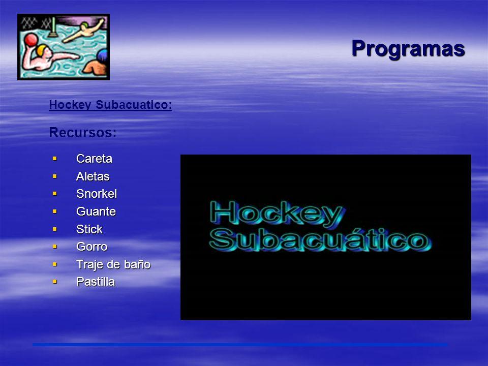 Programas Hockey Subacuatico: Recursos: Careta Careta Aletas Aletas Snorkel Snorkel Guante Guante Stick Stick Gorro Gorro Traje de baño Traje de baño