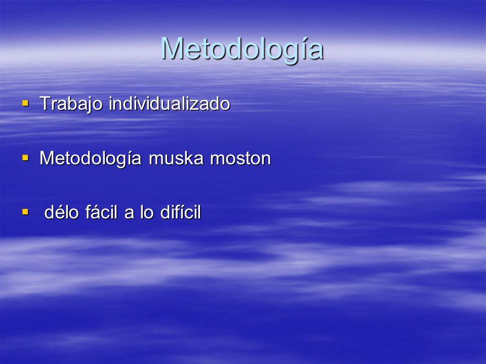 Metodología Trabajo individualizado Trabajo individualizado Metodología muska moston Metodología muska moston délo fácil a lo difícil délo fácil a lo