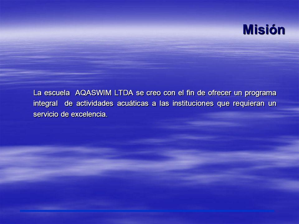 Visión Nuestra escuela AQASWIM LTDA se posicionará como una escuela líder en natación y actividades acuáticas en Colombia, gracias al profesionalismo del equipo de trabajo interdisciplinario y la realización de un programa resultado de una investigación basada en el análisis de nuestro contexto y los planes lideres en el mundo de la actividad deportiva acuática.