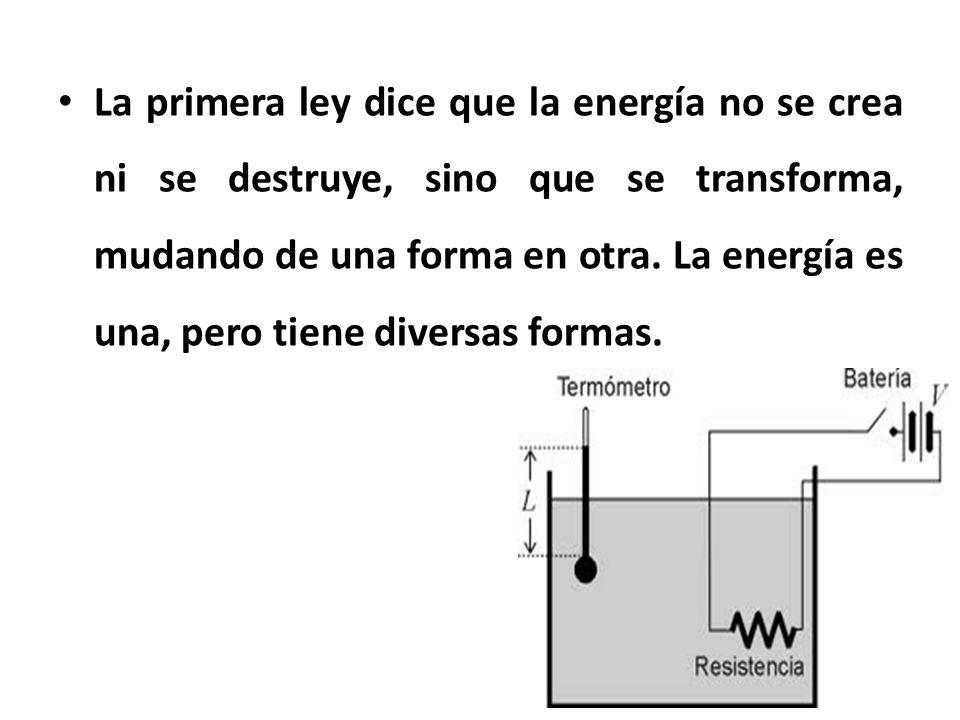 La primera ley dice que la energía no se crea ni se destruye, sino que se transforma, mudando de una forma en otra.