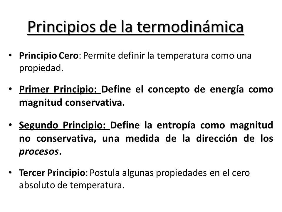 Principios de la termodinámica Principio Cero: Permite definir la temperatura como una propiedad.